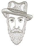 Huvud av en äldre man med en vektor för skäggfärgläggningbok för vuxna människor stock illustrationer
