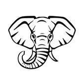Huvud av en elefant, svarta linjer, vektor Royaltyfria Foton