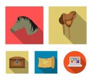 Huvud av en häst, en sadel, en skattöversikt, västra symboler för en uppsättningsamling för chestWild i plant materiel för stilve vektor illustrationer