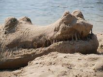 Huvud av en krokodil som göras av sand royaltyfri fotografi