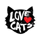Huvud av katten med katter för hjärta- och bokstävertextförälskelse Arkivfoton