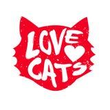 Huvud av katten med katter för hjärta- och bokstävertextförälskelse stock illustrationer