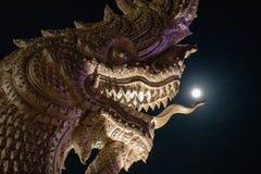 Huvud av Naga eller den buddistiska draken arkivfoton
