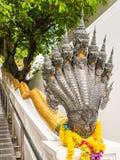 7 huvud av Naga i den buddistiska templet, Thailand Royaltyfri Fotografi