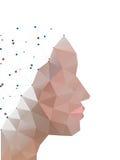 Huvud av polygoner abstrakt form av människan stock illustrationer