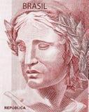 Huvud av republiken på fragmentsedlarna av den brasilianska verkliga närbilden arkivfoto