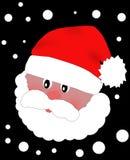 Huvud av Santa Claus i rött lock Arkivfoto