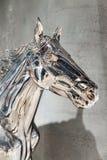 Huvud av silverhäststatyn royaltyfri foto