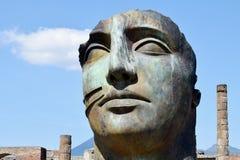 Huvud av statyn, Pompeii arkeologisk plats, nr Mount Vesuvius, Italien Royaltyfri Fotografi