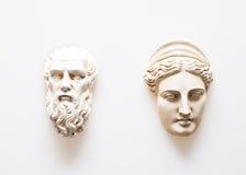 Huvud av Zeus och Hera skulpturer Arkivfoton