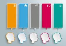 5 huvud färgade anförandebubblor royaltyfri illustrationer