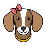 Huvud för översikt för gullig hundframsida som enkelt svart isoleras med pilbågen royaltyfria bilder
