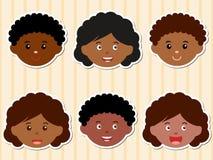 huvud för afrikansk amerikanpojkeflickor Arkivbilder