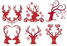 Huvud för julhjortfullvuxen hankronhjort, vektor royaltyfri illustrationer
