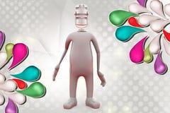 huvud för man 3d av mic-illustrationen Royaltyfri Bild