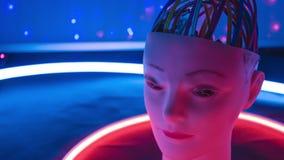 Huvud för robot för lära för Ai-maskin med ett mänskligt utseende lager videofilmer