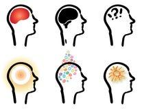 Huvud med hjärnan och idéer Royaltyfri Foto