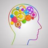 Huvud med kugghjul i hjärna stock illustrationer