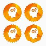 Huvud med kugghjulteckensymbolen Manligt mänskligt huvud Royaltyfri Bild