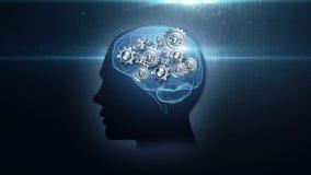 Huvud med roterande metallkugghjul royaltyfri illustrationer