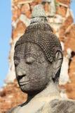 Huvud och framsida av den forntida bergsgrå buddha statyn, konstskulptur Royaltyfri Bild
