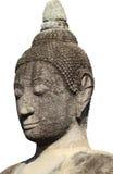 Huvud och framsida av den forntida bergsgrå buddha statyn som isoleras på vit bakgrund, konstskulptur Royaltyfri Bild