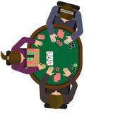 Huvud rymmer upp dem pokermatchen Två spelare och återförsäljare Royaltyfri Foto