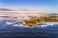 Huvud Shelly Beach Mist för D Nambucca Arkivfoto