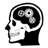 Huvud skalle, hjärnprofil med den kugghjul/silhouette illustrationen Royaltyfri Foto