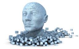 huvud som 3D består av kuber Royaltyfri Foto