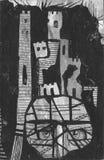 Huvud till tornet Handgjord illustration som dras med färgpulver och blyertspennan Arkivbilder