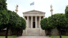 Huvudbyggnad av akademin av Aten i Grekland stock video