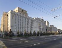 Huvudbyggnad av departementet av försvar från den ryska federationen Minoboron-- är regeringsorganet av den ryska krigsmakten royaltyfri bild