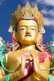 Huvudet av den BuddhaMatreia statyn i den Nubra dalen Arkivbilder