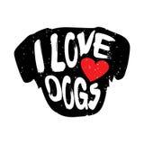 Huvudet av hunden med hjärta- och bokstävertext älskar jag hundkapplöpning stock illustrationer