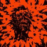Huvudet av monstret med en sönderriven framsida också vektor för coreldrawillustration Royaltyfria Bilder
