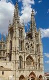 HuvudFacade av Burgos den gotiska domkyrkan. Spanien Arkivbilder