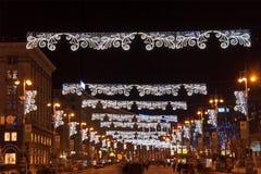 Huvudgatan av Kyiv på jul Arkivfoto