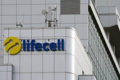 Huvudkontoret av tredjedelen - störst ukrainsk mobiltelefonnätverksoperatör Lifecell royaltyfria bilder
