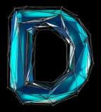 Huvudlatinsk bokstav D i låg poly stilblåttfärg som isoleras på svart bakgrund Fotografering för Bildbyråer