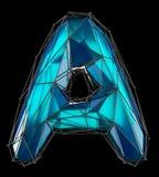 Huvudlatinsk bokstav A i låg poly stilblåttfärg som isoleras på svart bakgrund Royaltyfria Foton