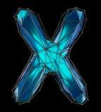 Huvudlatinsk bokstav X i låg poly stilblåttfärg som isoleras på svart bakgrund Arkivbild