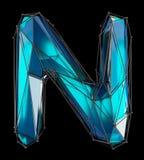 Huvudlatinsk bokstav N i låg poly stilblåttfärg som isoleras på svart bakgrund Royaltyfri Fotografi