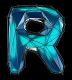 Huvudlatinsk bokstav R i låg poly stilblåttfärg som isoleras på svart bakgrund Arkivbilder