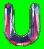 Huvudlatinsk bokstav U i röd färg för låg poly stil som isoleras på grön bakgrund Royaltyfri Foto