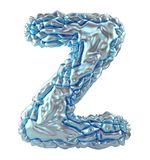 Huvudlatinsk bokstav Z som göras av skrynklig isolerad silver- och blåttfolie på vit bakgrund 3d Royaltyfri Illustrationer