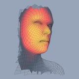 huvudperson för raster 3d head mänsklig model tråd Mänskligt polygonhuvud Framsidascanning Sikt av det mänskliga huvudet geometri Royaltyfria Bilder