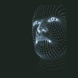 huvudperson för raster 3d Modell för mänskligt huvud Framsidascanning Sikt av det mänskliga huvudet geometrisk design för framsid Arkivfoto