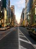 Huvudsaklig aveny i Ginza, Tokyo Arkivfoton