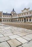 Huvudsaklig fasad. Slotten av Aranjuez, Madrid, Spain.World-arv sitter royaltyfria foton
